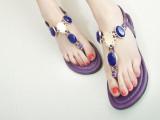 欧美明星纯手工宝石水钻罗马人字夹趾女鞋平底串珠夹脚钻石凉鞋潮