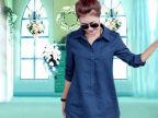 2015秋季新款女装 文艺中长款大码长袖衬衫女式春秋棉麻衬衣外贸