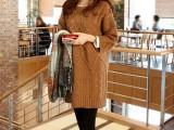 韩版新款秋冬女式针织衫中长款套衫纯色厚毛衣宽松圆领外套223