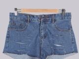 2014新款上市 厂家直供 猫抓纹中高腰阔腿裤棉牛仔裤女短裤 S