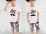 男童休闲套装2014韩版童装 儿童夏装胡子黑白格子中裤儿童两件套