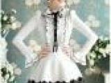 粉红大布娃娃 2012春装白色荷叶边黑缎带蝴蝶结泡泡长袖衬衫