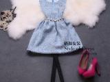 秋冬款新款女装优雅淑女钉珠毛呢修身显瘦A字背心连衣裙