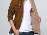 批发秋冬季新款男士连帽羊毛呢大衣 男中长款加绒加厚呢料风衣