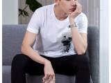 新款夏装男士T恤男短袖圆领韩版印花全棉汗衫时尚