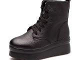 2013秋冬新款女潮坡跟真皮女单靴子 高跟厚底短靴马丁靴女松糕鞋