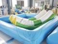 儿童充气水上乐园 水上冲关设备 水上滑梯组合 沙滩池 支架水池