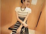 2014新款春夏韩国代购黑白灰条纹时尚短袖针织修身连衣裙