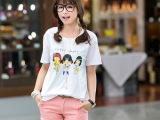 2014韩国春装新款女装正品T225hy卡通宽松长款短袖女t恤