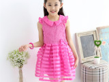 2015童裙夏装蕾丝女童连衣裙 韩版条纹儿童连衣裙 童装一件代发