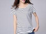 6块大码女装T恤 日式条纹宽松半袖 物价T恤女 可混发