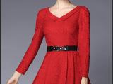 2015秋装新款新娘敬酒结婚礼服回门蕾丝裙大码女装长袖红色连衣裙