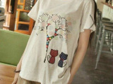 萧艾。新款日系森林系小清新学院风五彩小树短袖T恤 女上衣 批发