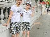 2015韩版短袖  情侣装夏装新款沙滩 夏季海边短裤套装学生班服