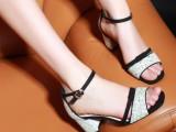 夏季新款凉鞋 金属亮片韩版女鞋 磨砂真皮女凉鞋  粗跟女鞋批发