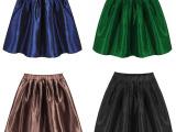 欧美风外贸秋冬新款 纯色半身裙子松紧高腰短裙伞裙修身女裙批发