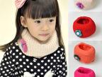 冬季儿童女童韩版可爱立体小花宝宝双层针织毛线围脖保暖围巾批发