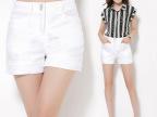 天猫商城女装2015春夏韩版中腰直筒裤全棉大码女士休闲裤女短裤