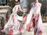 优雅红花 雪纺吊带裙 荷叶边设计超大摆夏长裙
