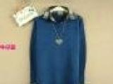 2013韩版长款格子衬衫领假两件针织衫宽松套头毛衣翻领女 羊毛衫