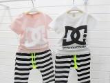 2014厂家直销夏季 字母彩条纯棉儿童短袖哈伦裤套装