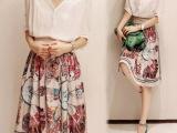 2014新款巴洛克印花连衣裙V领衬衣两件套雪纺中长款裙子