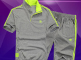厂家直销2015春夏新款男士运动休闲套装翻领T恤五分裤套装批发