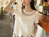 2014夏装日系森女系刺绣玛雅白色棉麻宽松上衣t恤