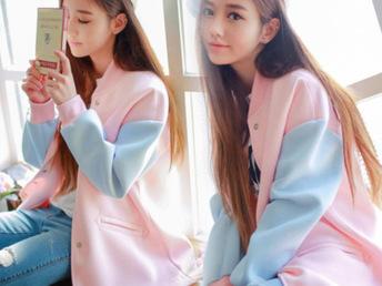 2015韩版学生宽松长袖外套女夏bf风薄款春秋太空棉棒球服开衫