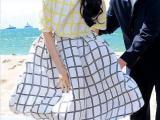 2014夏季范冰冰戛纳同款格子长裙两件套沙滩高腰半身裙套裙大摆裙