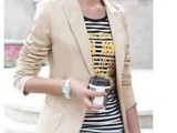 2014外贸女 时尚修身短上衣休闲V领长袖黑色白色西装外套.现货