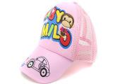 韩版夏天儿童网帽 男女孩童棉鸭舌帽子 卡通刺绣猴子遮阳帽子批发