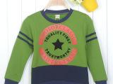 外贸童装原单童卫衣 秋冬款五角星字母 纯棉儿童加绒卫衣 新品