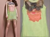 特价清 贴布圆领套头浅绿色连衣裙A字短裙谜颜 不退不换