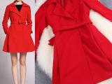 2014秋冬新款高端大牌修身长欧美品牌女装外套中长款女风衣大衣女