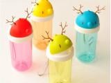 创意鹿角吸管 可爱塑料随手杯 卡通透明水杯 学生便携杯子