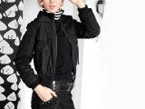 【法蒂尔/VOTRE】新款时尚韩版女式长袖拉链短款棉衣服装定做加