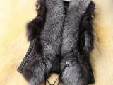新款秋冬欧美皮毛一体女装仿真皮草背心外套加大码女马甲皮草短款