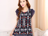 6043 韩版大码女装批发网店代销代理加盟 胖MM夏季雪纺衫短袖