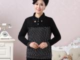 新款中老年女装优雅气质时尚休闲蕾丝拼接衬衫领长袖T恤