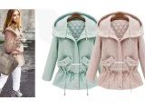 2014秋冬新款 欧美时尚加厚毛呢棉衣 系带连帽中长款呢子棉服