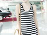 韩版女装 长款韩版时尚工字全棉条纹女式条纹背心吊带打底裙B061