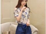 2014新款女装欧洲站宽松蝙蝠袖雪纺上衣短裤两件套休闲套装