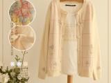 2014春季新款日系森女系手工钩花朵镂空女款针织衫开衫毛衣