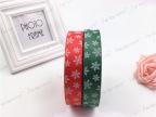 2.5cm高密螺纹丝带圣诞带印刷雪花彩带