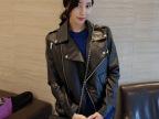 2014秋季新款女式黑色大翻领拉链机车皮衣