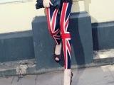 夏装2014新款 英国米字旗弹力女士修身 牛奶丝 九分裤打底裤批