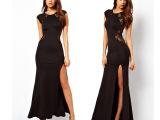 欧美外贸长裙修身显瘦性感镂空开叉背后蕾丝裙夜店连衣裙