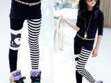 青岛产地童装 2014年春款新品不对称条纹熊猫弹力儿童打底裤