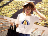 2015夏新款韩版小雨伞印花短袖t恤女姐妹装女装夏上衣